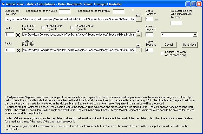 Matrix Calculations form